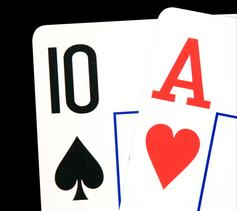 Two cards, isolated on black, clipping path included
