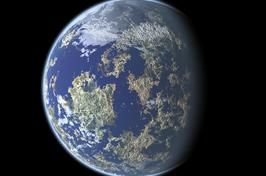 earth looking planet render with thin atmosphere and shadow