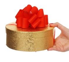 Female hand holding beautiful gold gift box with red bow isolated on white background