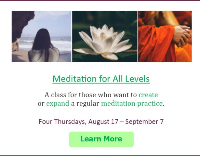 Meditation for All Levels ad box for website